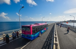 The Maldives Port Limited's Bus for public transportation between Male'-Hulhumale'. PHOTO: HUSSAIN WAHEED / MIHAARU