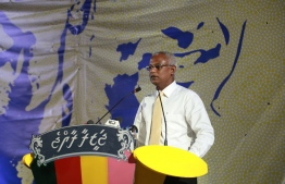 Opposition Candidate Ibrahim Mohamed Solih (Ibu)-GDH during Thinadhoo campaign. PHOTO:MIHAARU