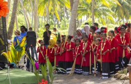 September 1, 2018, L. Maabaidhoo: Students before performing a traditional dance at the Laamu Turtle Festival 2018. PHOTO: HAWWA AMAANY ABDULLA / THE EDITION