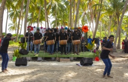 September 1, 2018, L. Maabaidhoo: Local boduberu group K Bola hype up the crowds at the Laamu Turtle Festival 2018. PHOTO: HAWWA AMAANY ABDULLA / THE EDITION