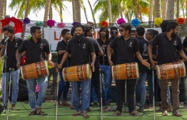 September 1, 2018, L. Maabaidhoo: Local boduberu group K Bola hypes up the crowds at the Laamu Turtle Festival 2018. PHOTO: HAWWA AMAANY ABDULLA / THE EDITION