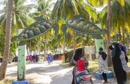 September 1, 2018, L. Maabaidhoo: The entrance to the Laamu Turtle Festival 2018. PHOTO: HAWWA AMAANY ABDULLA / THE EDITION