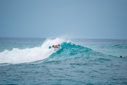 A bodyboarder competes at the first ever Soneva Surf Pro held in B.Goidhoo. PHOTO/SONEVA FUSHI