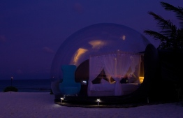 The Beach Bubble Tent at Finolhu is available exclusively for romantic, one-night-only 'Dream Eclipses' experienced under the stars. PHOTO: HAWWA AMAANY ABDULLA/THE EDITION