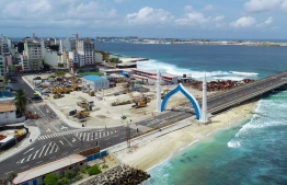 Aerial view of Male City's ring road connecting to Sinamale Bridge-