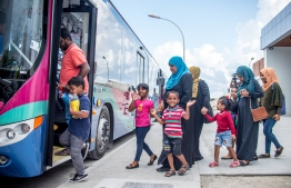 Passengers boarding the Maldives Ports Limited (MPL)'s public transportation route from Male' to Hulhumale'/ Hulhule'. PHOTO: NISHAN ALI/MIHAARU