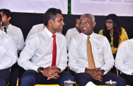Opposition Presidential Candidate Ibrahim Mohamed Solih (Ibu) and running mate Faisal Naseem, attend the opposition gathering. PHOTO: MIHAARU