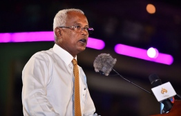 Opposition candidate Ibrahim Mohamed Solih (Ibu) addresses the gathering. PHOTO/MIHAARU
