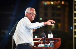 Mp Solih at the mass gathering held by the opposition coalition. PHOTO: NISHAN ALI / MIHAARU
