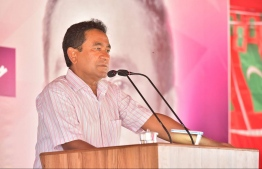 President Yameen speaking at a campaign gathering. PHOTO: PRESIDENT OFFICE