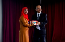 Nippon Foundation donates 92 books on contemporary Japan to Hiriya School on September 10, 2018. PHOTO: HUSSAIN WAHEED/MIHAARU