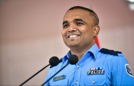 Police spokesperson Ahmed Shifan speaks to the press. PHOTO: NISHAN ALI/MIHAARU