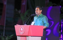 President Abdulla Yameen speaks at PPM campaign rally at Hulhumale. PHOTO/PRESIDENT'S OFFICE