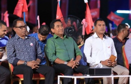 President Abdulla Yameen (C) at the PPM ceremony held to showcase the progress of the Hiyaa housing project in Hulhumale. PHOTO/PRESIDENT'S OFFICE