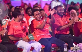 President Abdulla Yameen (C) pictured at the PPM Presidential campaign in Villimale on September 15, 2018. PHOTO/PRESIDENT'S OFFICE