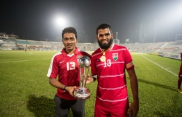 Dhaka, Bangladesh, September 15, 2018: The Maldives National Football Team celebrate winning the SAFF Suzuki Cup 2018, beating India 2-1 in the final. PHOTO/IMAGES.MV