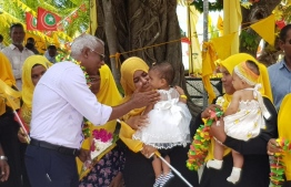 Opposition coalition presidential candidate Ibrahim Mohamed Solih (Ibu) during his campaign stop at M.Mulah. PHOTO/MDP