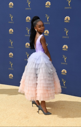 Actress Marsai Martin arrives for the 70th Emmy Awards at the Microsoft Theatre in Los Angeles, California on September 17, 2018.  / AFP PHOTO / VALERIE MACON