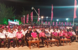 Campaign gathering by ruling Progressive Party of Maldives (PPM)