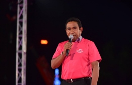 President Abdulla Yameen Abdul Gayoom speaking during the massive ruling party gathering.