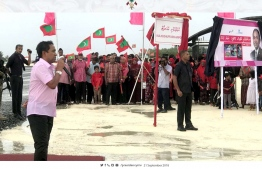 President Yameen speaking at the ceremony held to ingurate Kulhudhuffushi Airport. PHOTO: PRESIDENT OFFICE