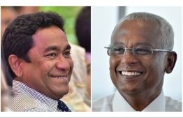 President Abdulla Yameen (L) and President-Elect Ibrahim Mohamed Solih. PHOTO/MIHAARU