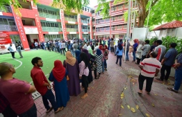 September 23, 2018: People queue up to vote in the Presidential Elections 2018 all over the Maldives. PHOTO/MIHAARU