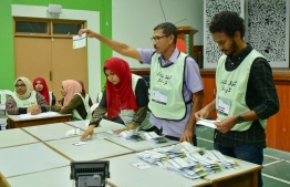 September 23, 2018: Election officials count the ballots after voting ends in the Presidential Election 2018. PHOTO/MIHAARU