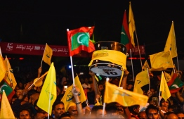 September 24, 2018: Supporters of the opposition coalition celebrate the victory of the new President-Elect Ibrahim Mohamed Solih after the Presidential Election 2018. PHOTO: HUSSAIN WAHEED/MIHAARU