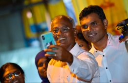 September 24, 2018: The new President-Elect Ibrahim Mohamed Solih and his running mate Faisal Naseem join the celebrations after winning the Presidential Election 2018. PHOTO: HUSSAIN WAHEED/MIHAARU