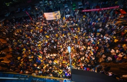 September 24, 2018: Supporters of the opposition coalition celebrate the victory of the new President-Elect Ibrahim Mohamed Solih after the Presidential Election 2018. PHOTO: NISHAN ALI/MIHAARU