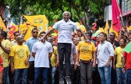 Ibrahim Mohamed Solih during an opposition parade after ending his presidential campaign ahead of the Election 2018. PHOTO: NISHAN ALI/MIHAARU