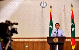 President Abdulla Yameen addresses the nation, conceding his defeat in the Presidential Election 2018. PHOTO: PRESIDENT'S OFFICE