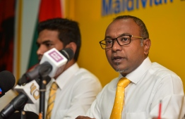 MDP Chairperson Hassan Latheef speaks at press conference held to mark the new President-Elect Ibrahim Mohamed Solih's victory in the Presidential Election 2018. PHOTO: AHMED NISHAATH/MIHAARU
