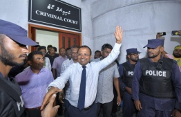 Kinbidhoo MP Abdulla Riyaz exits the Criminal Court upon his release. PHOTO: HUSSAIN WAHEED/MIHAARU