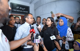 Kinbidhoo MP Abdulla Riyaz speaks to the press after the Criminal Court releases him from detention. PHOTO: HUSSAIN WAHEED/MIHAARU