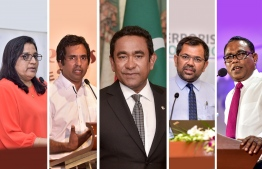 President Abdulla Yameen (C) was elected as PPM's leader, while Azima Shakoor, Economic Minister Mohamed Saeed, Tourism Minister Moosa Zameer and Abdul Raheem Abdulla were elected as deputy leaders during the PPM congress held September 28, 2018. PHOTO/MIHAARU