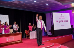 President Abdulla Yameen gestures at the closing ceremony of PPM Congress. PHOTO/MIHAARU