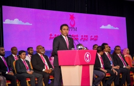 President Abdulla Yameen speaks at the closing ceremony of PPM Congress. PHOTO: HUSSAIN WAHEED/MIHAARU