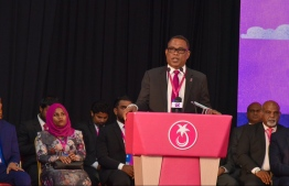 Interim President of People's National Congress (PNC) Abdul Raheem Abdulla speaking at the congress of Progressive Party of Maldives (PPM). PHOTO: PPM