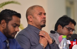 EC's President Ahmed Shareef at a press conference regarding the Presidential Election 2018. PHOTO/MIHAARU