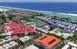 Aerial view of the housing solutions built in Hulhumale'. PHOTO: HOUSING DEVELOPMENT CORPORATION LTD