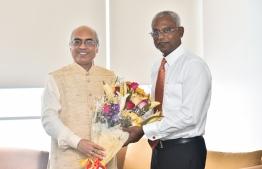 President-Elect Ibrahim Mohamed Solih (R) meets Indian Ambassador Akhilesh Mishra on October 1, 2018. PHOTO: HUSSAIN WAHEED/MIHAARU