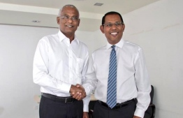 President-Elect Ibrahim Mohamed Solih (L) meets Foreign Secretary Ahmed Sareer. PHOTO/AHMED SAREER'S TWITTER