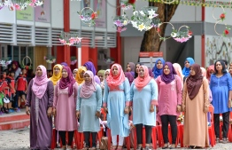 Teachers pictured during the special ceremony held at Iskandhar School to mark World Teachers Day 2018. PHOTO/MIHAARU