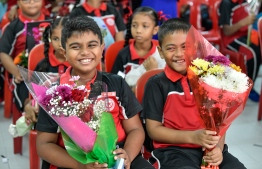 Students of Iskandhar School. PHOTO: NISHAN ALI/MIHAARU