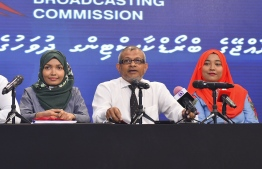 Maldives Broadcasting Commission speaks to the press regarding media coverage of the Presidential Election 2018. PHOTO/MIHAARU