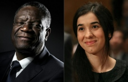 (COMBO) This combination created on October 5, 2018 of file pictures shows Congolese gynecologist Denis Mukwege (October 24, 2016 in Paris) and Nadia Murad, public advocate for the Yazidi community in Iraq and survivor of sexual enslavement by the Islamic State jihadists (June 21, 2016 in Washington, DC). Congolese doctor Denis Mukwege and Yazidi rape victim Nadia Murad won the 2018 Nobel Peace Prize on October 5, 2018 for their work in fighting sexual violence in conflicts around the world. JOEL SAGET, MARK WILSON / AFP / GETTY IMAGES NORTH AMERICA