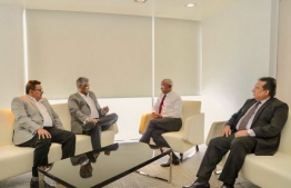 President-Elect Ibrahim Mohamed Solih meeting with the special envoy from President Sirisena. PHOTO: MIHAARU