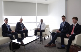 President-Elect Ibrahim Mohamed Solih (C) with United Kingdom's Minister of State for the Foreign and Commonwealth Office, Mark Field (L-2) and UK Ambassador to Maldives James Dauris (L). PHOTO: MDP